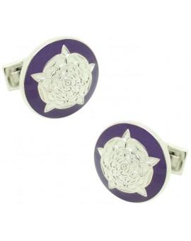 Tudor Rose Skultuna Cufflinks - Purple