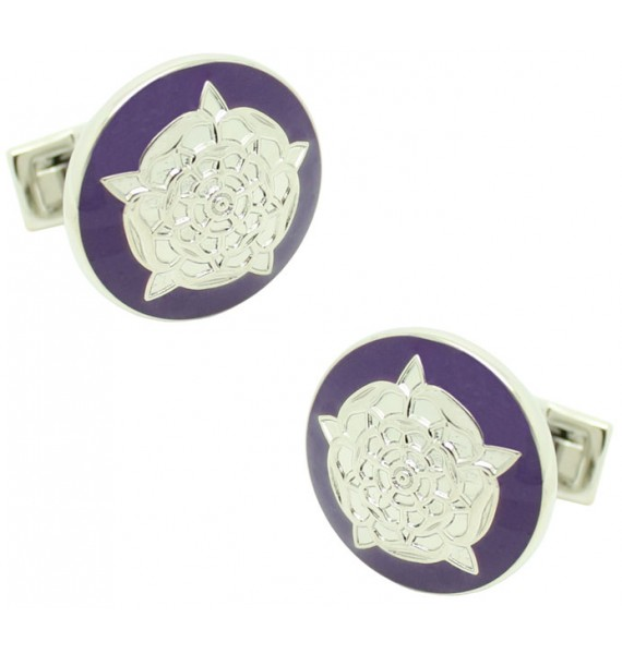 Tudor Rose Skultuna Cufflinks - Purple