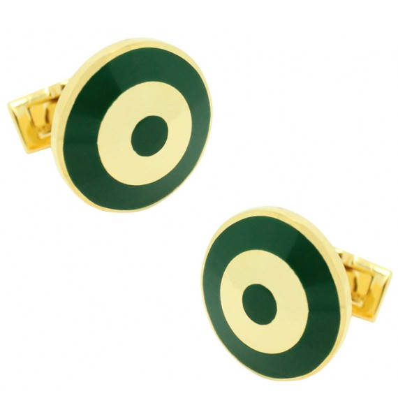 Golden and Green Bomber Skultuna Cufflinks