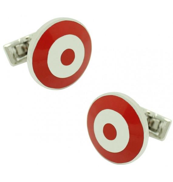 Gemelos para camisa Skultuna Bomber circulo Plateado - Rojo/Blanco
