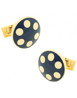 Golden Balls Skultuna Cufflinks - Blue