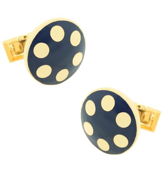 Golden Balls Skultuna Cufflinks - Blue