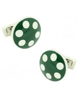 Silver Balls Skultuna Cufflinks - Green