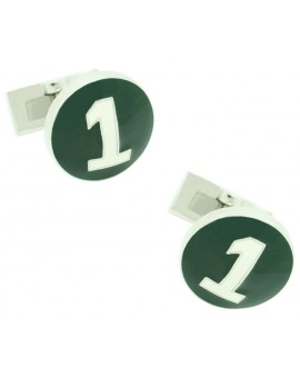 Silver Racer Skultuna Cufflinks - Green