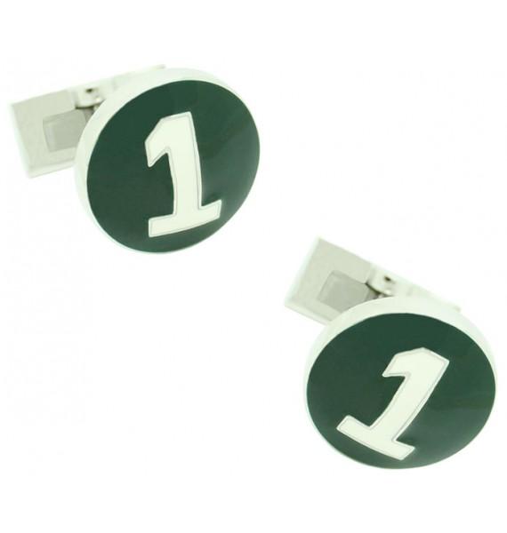 Gemelos para camisa Skultuna Racer Plateado - Verde
