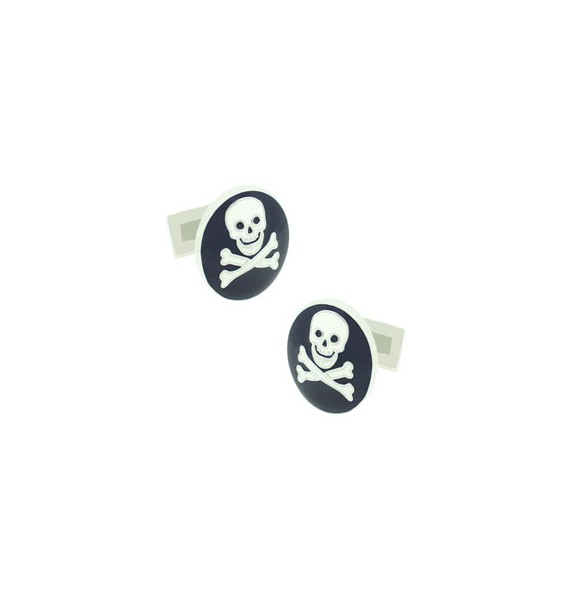 Blue Skull and Bones Skultuna Cufflinks