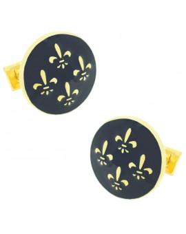 Golden Fleur de Lys Skultuna Cufflinks - Navy