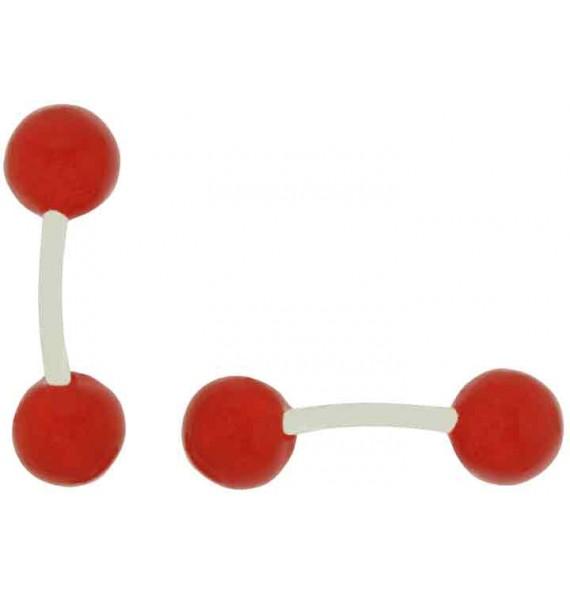 Red Enamel Ball Cufflinks