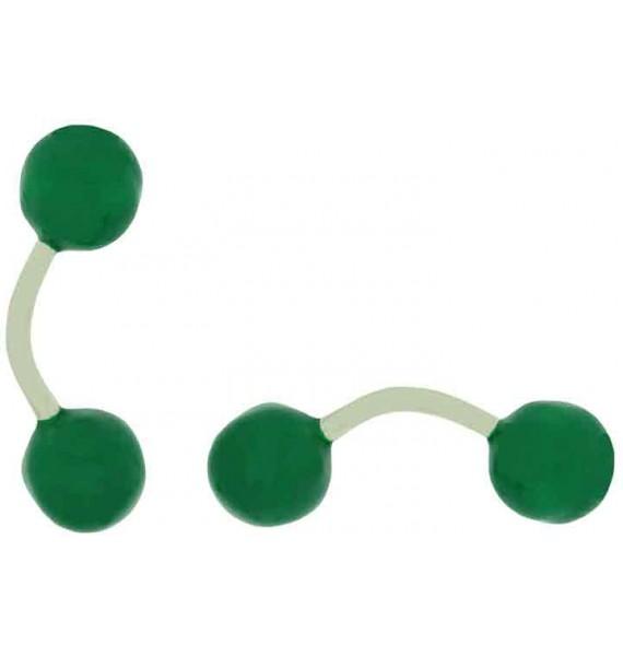 Gemelos para camisa Bola Verde Esmaltado