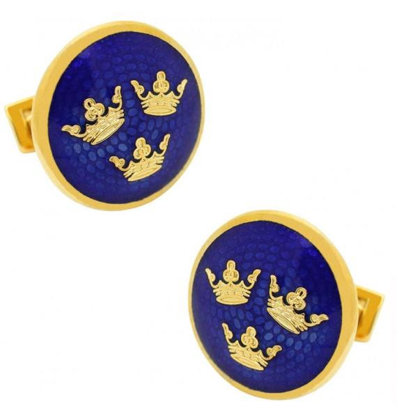 Golden Three Crowns Large Skultuna Cufflinks