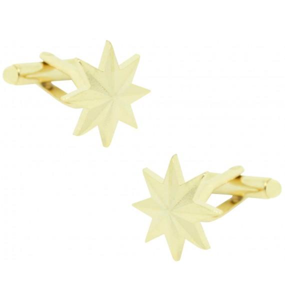 Eight-Point Golden Military Star Cufflinks