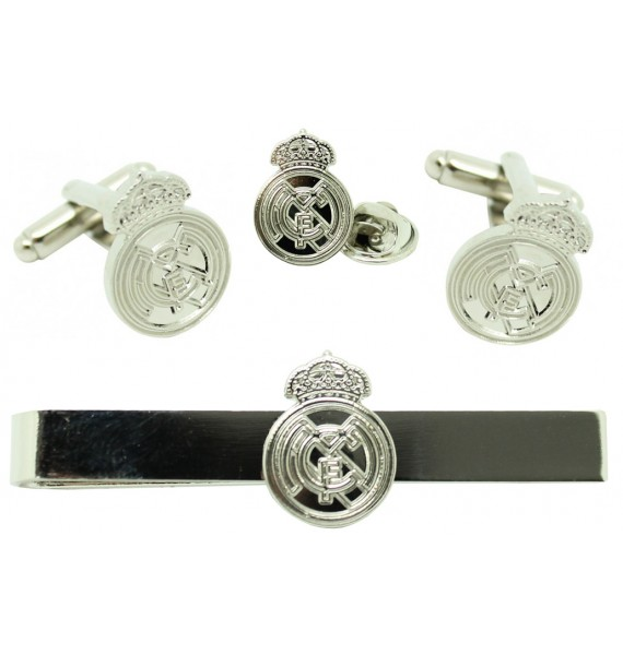 Silver Plated Real Madrid Cufflinks, Tie Bar and Pin Gift Set