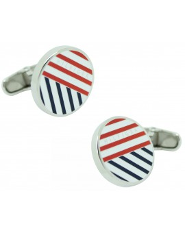 Striped Round Tommy Hilfiger Cufflinks