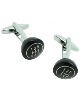 3D Gear Lever Black Cufflinks