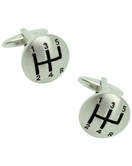 3D Silver Plated Gear Lever Cufflinks