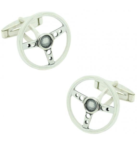 PREMIUM Sterling Silver Classic Car Steering Wheel Cufflinks