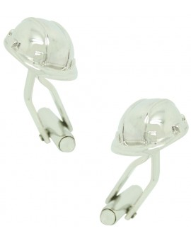 Silver Construction Helmet Cufflinks