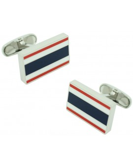 gemelos para camisa rectangular tommy hilfiger rojo y azul