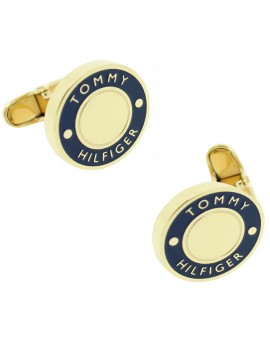 Golden and Blue Round Tommy Hilfiger Cufflinks
