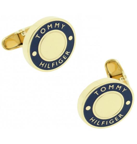 Golden and Blue Round Tommy Hilfiger Cufflinks