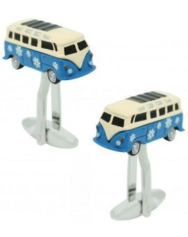 gemelos para camisa furgoneta hippie azul
