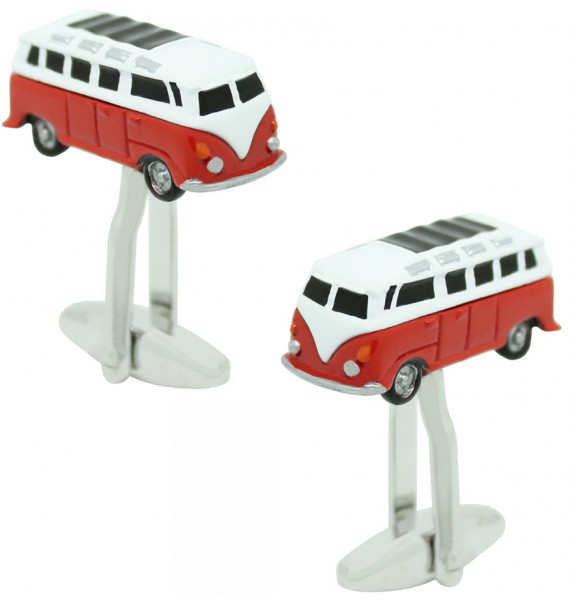 gemelos para camisa furgoneta roja hippie