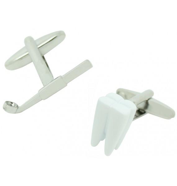 Gemelos para camisa Muela y Espejo Dental Blanco