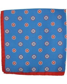 Blue floral pocket square with red border