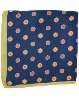 Navy blue floral pocket square with yellow border
