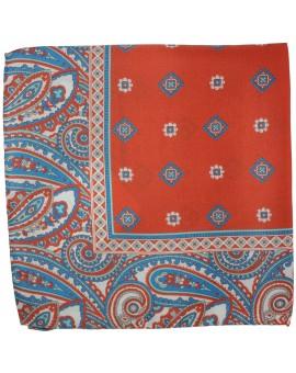 Pañuelo de bolsillo rojo dibujos en seda