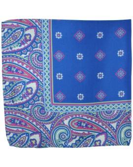 Pañuelo de bolsillo azul dibujos en seda