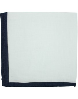 White pocket square with navy blue border