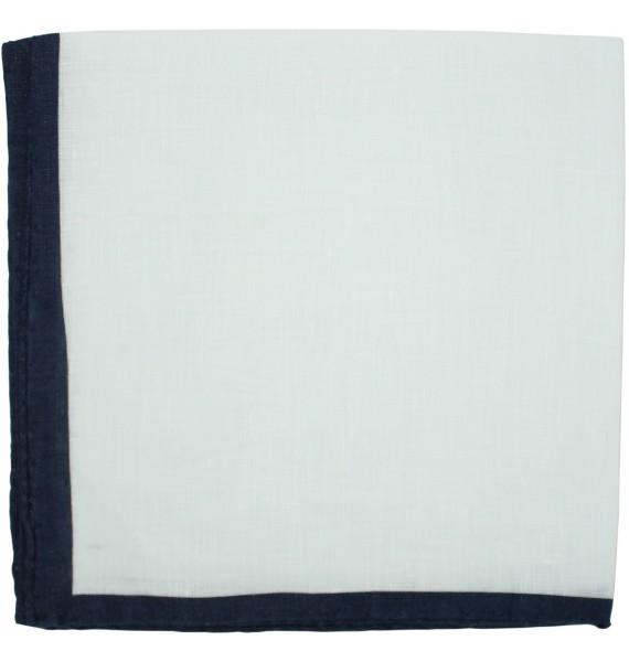 Pañuelo de bolsillo blanco con esquinas en azul marino