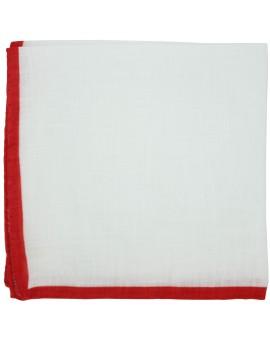Pañuelo de bolsillo blanco con esquinas en rojo muy bonito