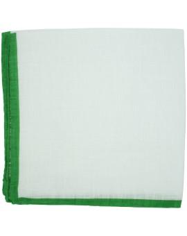 Pañuelo de bolsillo blanco con esquinas en color verde de LINO