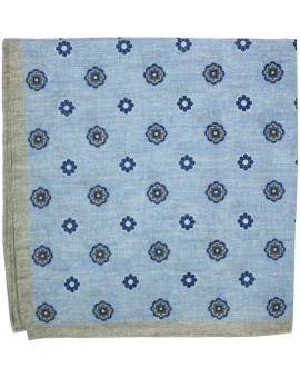 Blue floral pocket square with brown border