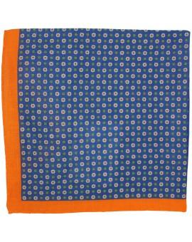 Pañuelo de bolsillo azul marino con flores y esquinas en naranja