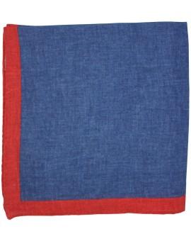 Pañuelo de bolsillo azul marino y esquinas en rojo fabricado en lino