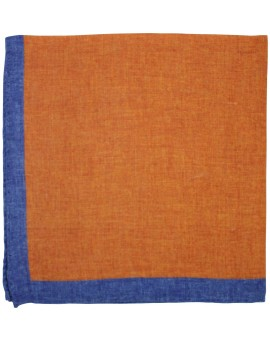 Orange pocket square with blue border