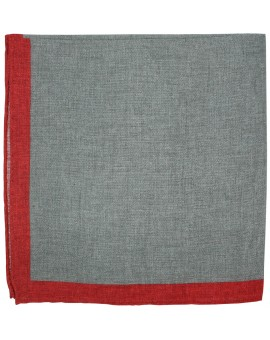 Pañuelo de bolsillo gris y esquinas en color rojo hecho en lino