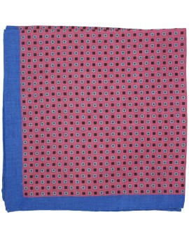 Pink floral pocket square with blue border