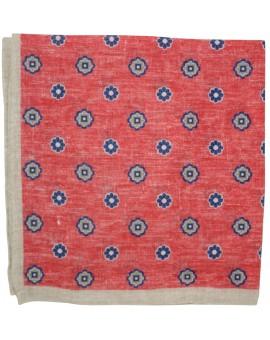 Pañuelo de bolsillo de flores rojo y gris fabricado en lino