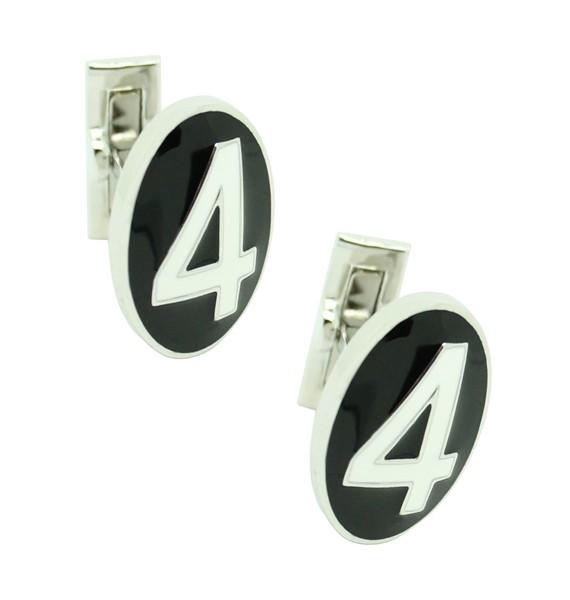 Gemelos para camisa Skultuna Serie Número 4 en blanco y negro