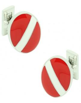Gemelos para camisa Skultuna Banda en color blanco y rojo