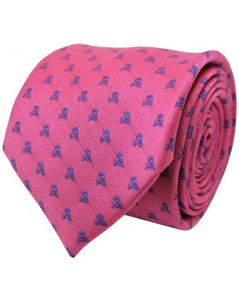 Pink tie with light blue embroidered skulls