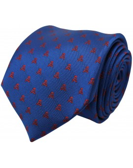 Blue tie with red embroidered skulls