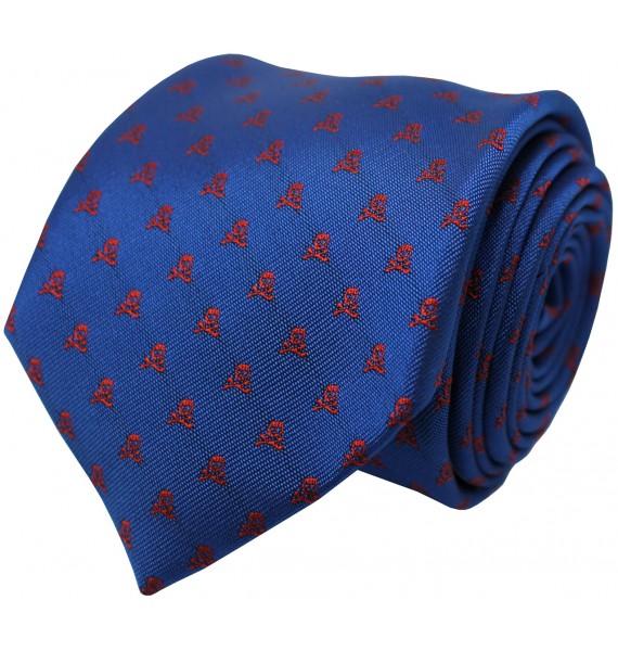 Corbata azul marino y calaveras en color rojo