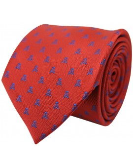 Red tie with blue embroidered skulls