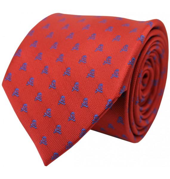 Corbata roja y calaveras azules para camisa