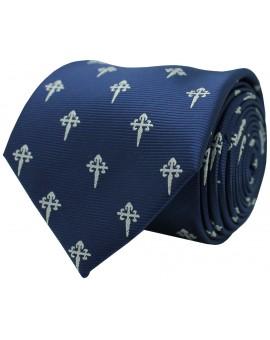 Corbata cruz de santiago en color azul y cruz plateada